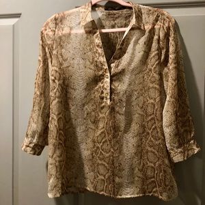Limited: Size M, brown, reptile print blouse.